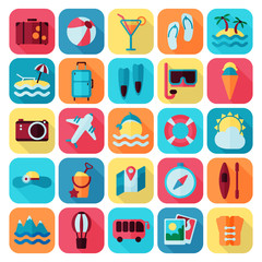 summer rest flat icon set