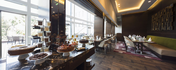 Modern restaurant interior,breakfast buffet