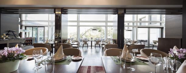 Fototapeta Modern restaurant interior, part of a hotel obraz