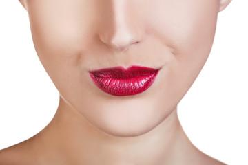 Perfect lips makeup close-up.