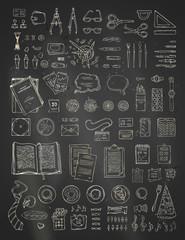 Vector chalk scene creator set on blackboard background.