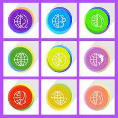 globe and array down, globe, globe and phone, shift globe, globe