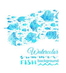 Vector watercolor summer fish background.