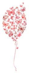 Red balloon of butterflies.
