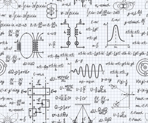 Physical vector seamless pattern with formulas, equations and figures, handwritten on a squared sheet of notebook