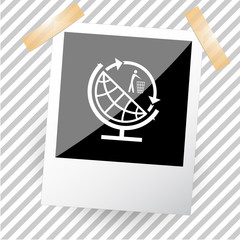 globe and recycling symbol.