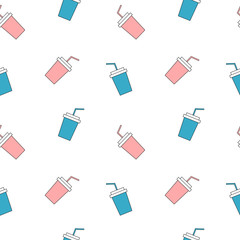 cute pink and blue paper cups seamless vector pattern background illustration