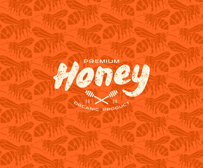 Honey bee seamless pattern and label