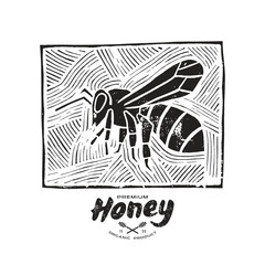 Linocut with a picture of bee and honey label