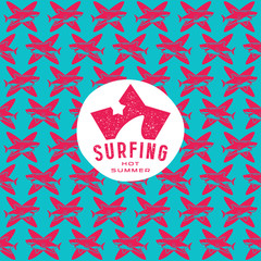 Shark surfing seamless pattern and emblem