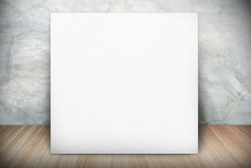 blank poster in room with wall and wooden floor. Mock up