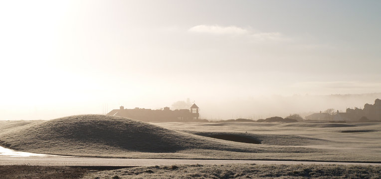 A misty winter morning on the green at  St. Andrews, Scotland