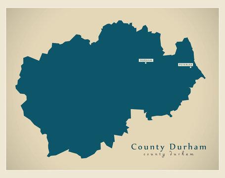 Modern Map - County Durham unitary authority England UK