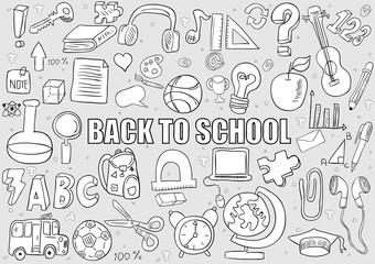 Back of School Objects background, drawing by hand vector
