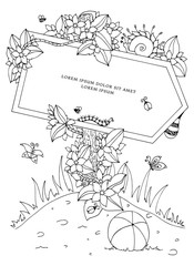 Vector illustration Zen Tangle pointer with the inscription. Doodle flowers. Coloring book anti stress for adults. Black white.