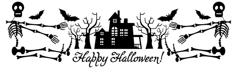 Halloween banner with house and skeletons silhouettes. Vector clip art.