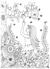 Vector illustration Zen Tangle , woman, girl and pear. Doodle drawing flowers. Coloring book anti stress for adults. Black white.