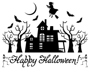 Halloween banner with house and flying witch silhouettes. Vector clip art.
