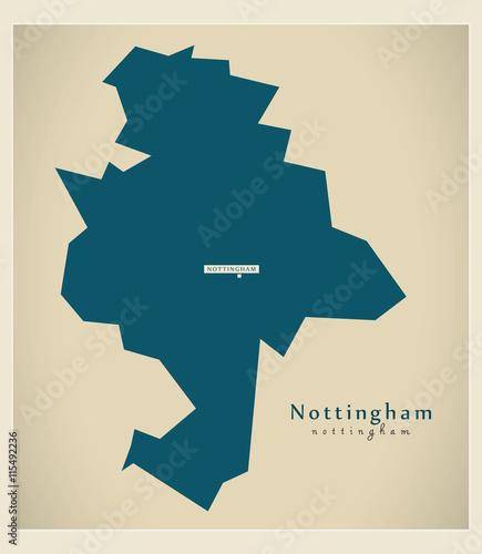 Modern Map Nottingham Unitary Authority England Uk Stock Image