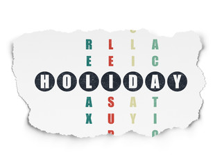 Tourism concept: Holiday in Crossword Puzzle