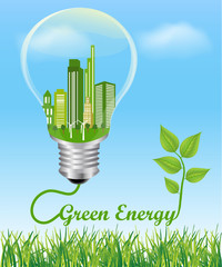 Green Energy Concept. City in electric light bulb connected to a plant, symbol of green energy Environmental friendly energy.Energy saving concept Think green concept