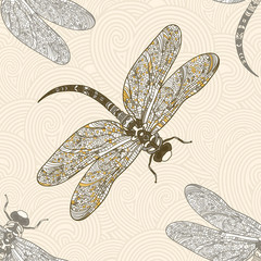 Seamless vector pattern with dragonfly on a tender beige background