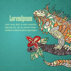 Hand drawn card with iguana.