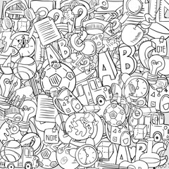 Back of School Objects on background, drawing by hand vector