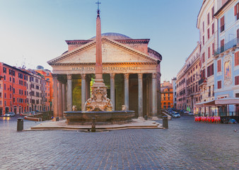 Fototapete - ancient Pantheon church in Rome illuminated at night, Italy