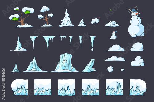 winter tile set for platformer game seamless vector ground blocks