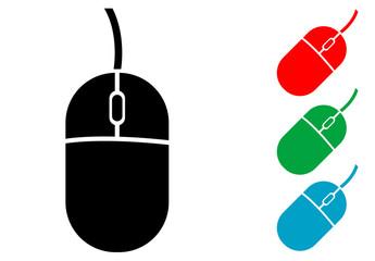 Icono plano mouse de ordenador varios colores