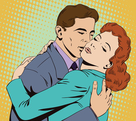People in retro style. Embraces of a loving couple