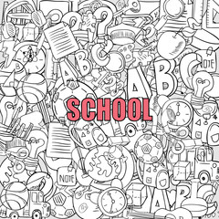 School objects on background, drawing by hand vector