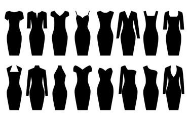 Set of black dresses, vector illustration