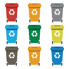 Different colored recycle waste bins vector illustration.waste bins with trash.