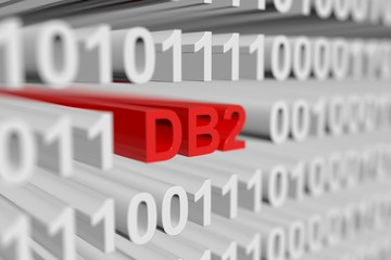 DB2 as a binary code with blurred background 3D illustration