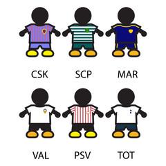 Set of Footbal/Soccer team players.