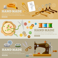 Tailor banners hand made concept tailoring tools fashion houses