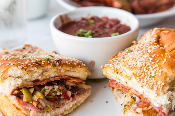 Muffalatta Sandwich with Cup of Red Beans