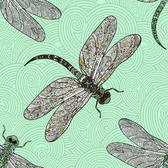 Seamless vector pattern with dragonfly on a green background.