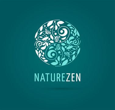 Alternative, Chinese medicine and wellness, herbal, zen meditation concept - vector yin yang icon, logo