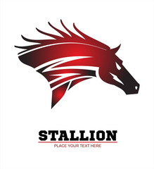 Horse, horse head. Running stallion head in beautiful red maroon