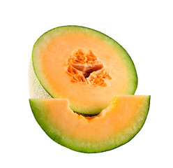 melon slices on white background
