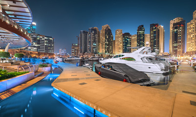 Dubai Marina Walk in a magical blue night