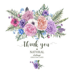Vintage floral greeting card with anemones