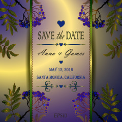Vector wedding invitation with the rowan
