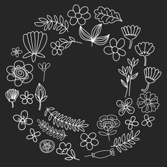 Vector pattern with flowers Garden Birhday Wedding Postcard