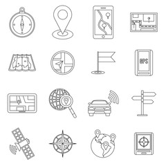 Navigation icons set in outline ctyle. Location on terrain set collection vector illustration