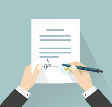 Agreement or contract deal businessman signing document vector illustration, man hands holding policy signed and pen, legal from with signature and stamp top view, flat cartoon design