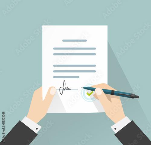 Quot Businessman Signing Document Vector Illustration Man